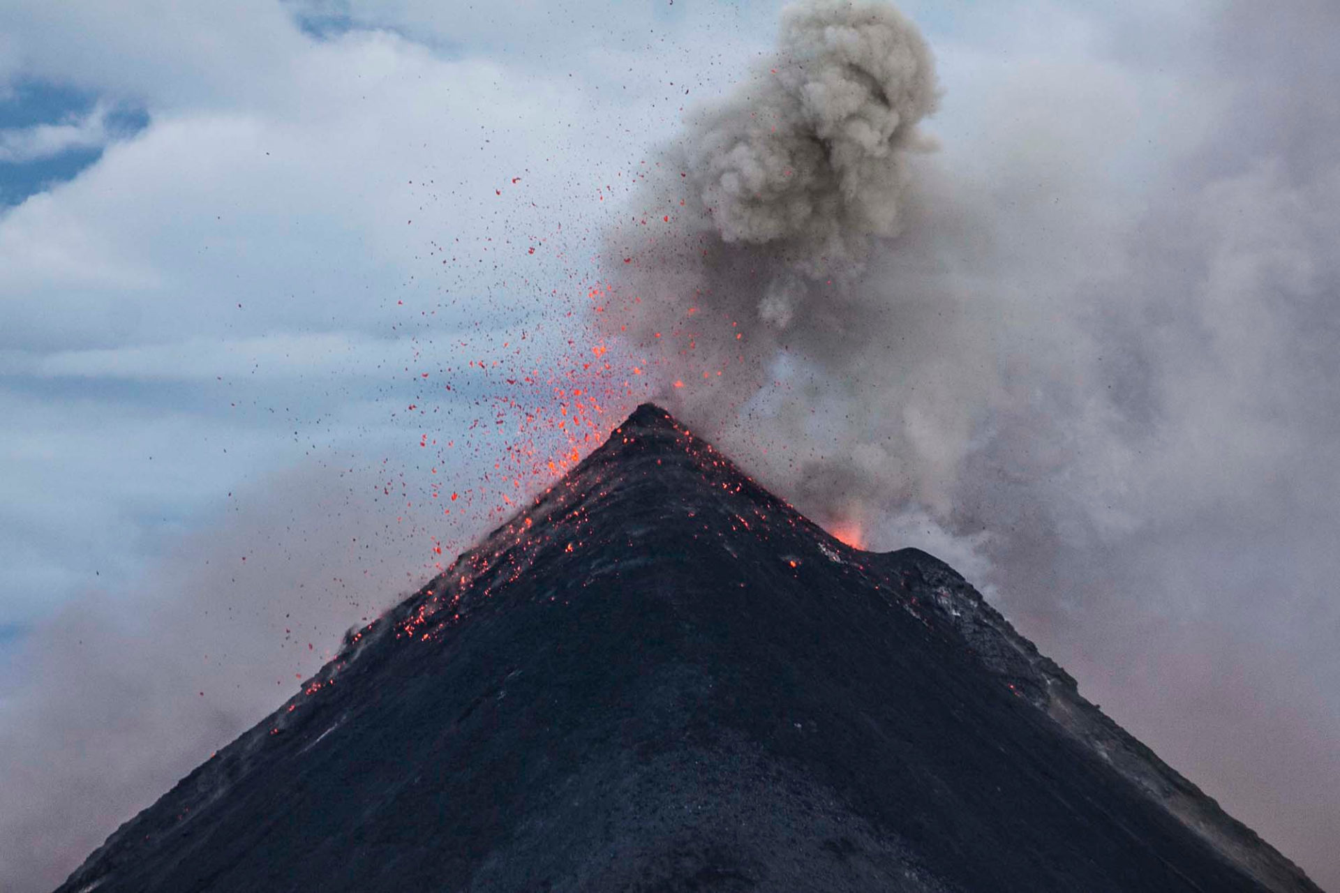 Volcano in the process of erupting