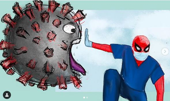 Winning drawing of Spiderman fighting the Coronavirus